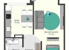 2-комнатная квартира на Мельницкой